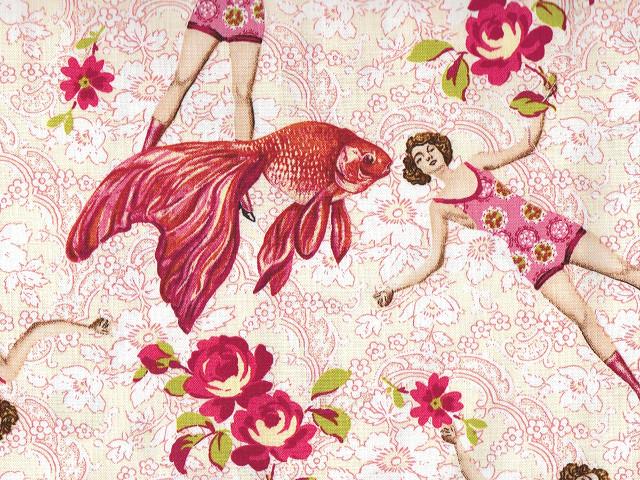 Stoffdesign Goldfisch und Tänzerin